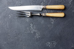 Вилка мяса и космос экземпляра предпосылки ножа Стоковые Изображения