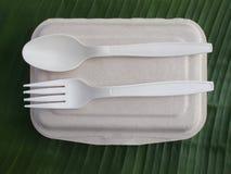 вилка ложки bioplastic и устранимая коробка для завтрака на банане листают стоковое изображение rf