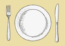 Вилка столового прибора с вектором ножа и плиты Чертеж руки эскиза иллюстрация иллюстрация штока