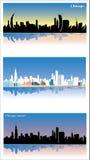 Вид на город в утре, после полудня плаката Чикаго, заход солнца Плоский дизайн, взгляд 3d, реалистический, minimalistic также век иллюстрация штока