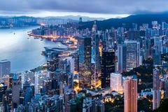 Вид на город Гонконга от пика стоковое фото
