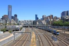 Вид на город и рельс Мельбурна Стоковая Фотография