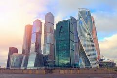Вид на город Москвы делового центра International Москвы небоскребов Стоковое фото RF