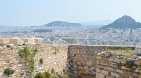 Вид на город от акрополя в Афинах, Греции 16-ого июня 2017 Стоковое фото RF