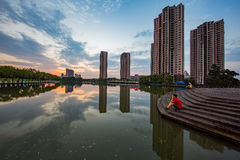 Вид на город под setsun стоковое фото rf