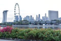 Вид на город Сингапура в вечере Стоковое Изображение