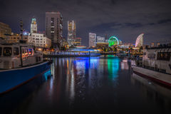 Вид на город Японии Иокогама на ноче Стоковые Изображения