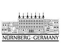 Вид на город Nurnberg Ярлык Германии перемещения Стоковая Фотография RF