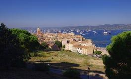Вид на город St Tropez стоковое фото rf
