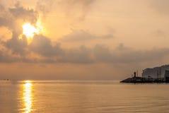 Вид на море заходом солнца Стоковое фото RF