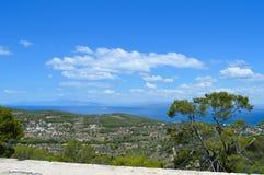 Вид на море на острове Aegina в Греции Стоковые Фотографии RF
