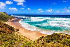 Вид на море от большой дороги океана в Австралии Стоковое Изображение