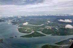 Вид на море от самолета воздуха Стоковая Фотография