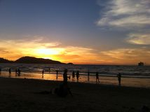 Вид на море с заходом солнца Стоковое Изображение