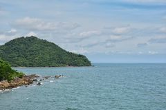 Вид на море i сделал фотоснимок от моста Taksin Maharat на провинции Chanthaburi Стоковое Изображение