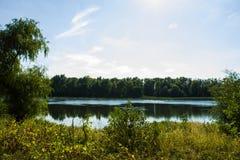Вид на озеро в фото парка Стоковое Изображение
