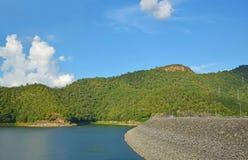 Вид на озеро с голубым небом стоковая фотография