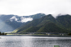 Вид на озеро Kawakuchiko Стоковая Фотография