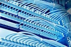 Шкаф управления с пультом временных соединительных кабелей 6-ой категории, голубым тоном Стоковые Фото
