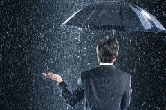 Вид сзади бизнесмена под зонтиком в дожде Стоковое фото RF