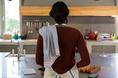 Вид сзади женщины варя еду в кухне Стоковое Изображение RF