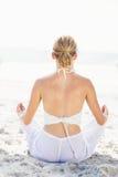 Вид сзади женщины выполняя йогу на пляже Стоковые Фотографии RF