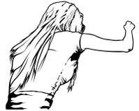 Вид сзади женщины с длинными волосами Стоковое Изображение RF