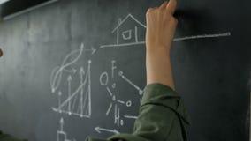 Вид сзади коммерсантки смотря эскизы дела мела на стене 20s 4k видеоматериал