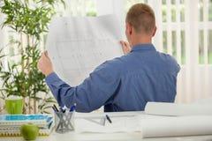 Вид сзади молодого бизнесмена анализируя диаграммы в его офисе Стоковое Фото