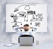 Вид сзади расслабляющего бизнесмена с пересеченными руками за его головой, которая смотрит whiteboard с abou схемы технологическо Стоковое Изображение RF