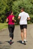 Вид сзади друзей пар jogging совместно Стоковые Фотографии RF