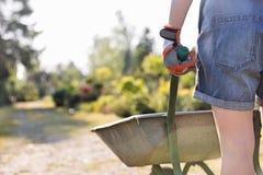 Вид сзади Midsection женского садовника нажимая тачку на питомнике завода Стоковые Изображения RF