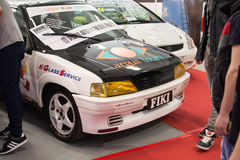 Вид спереди автомобиля ралли Пежо 106 на выставке автомобиля Белграда Стоковые Фотографии RF