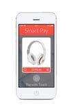 Вид спереди белого умного телефона с умным применением оплаты на th стоковое изображение rf