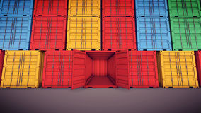 Вид спереди грузовой контейнер открытый Стоковая Фотография