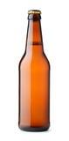 Вид спереди коричневой пивной бутылки Стоковые Фото
