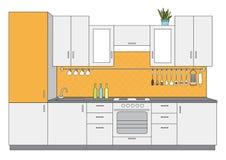 Вид спереди кухни архитектурноакустического эскиза внутреннее малое Стоковая Фотография