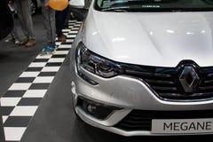 Вид спереди нового автомобиля Renault Megane на выставке автомобиля Белграда Стоковое Изображение