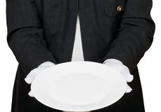 Вид спереди пустой белой плиты в руках в перчатках Стоковое Изображение