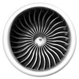 Вид спереди реактивного двигателя изолированное на белой предпосылке иллюстрация штока