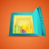 Вид спереди сейфа шаржа Раскрытый металлический сейф шаржа с деньгами внутрь, бар золота, монетки, стога наличных денег доллара в Стоковое Изображение RF