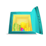 Вид спереди сейфа шаржа Раскрытый металлический сейф шаржа с деньгами внутрь, бар золота, монетки, стога наличных денег доллара I Стоковая Фотография