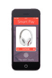 Вид спереди черного умного телефона с умным применением оплаты на th стоковые изображения rf