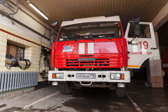 Вид спереди Kamaz 43253, русская пожарная машина Стоковая Фотография