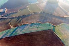 Вид с воздуха аграрных полей Стоковое Фото