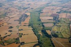 Вид с воздуха ландшафта земледелия Стоковая Фотография RF