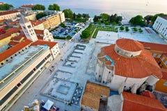 Вид с воздуха архитектуры квадрата форума Zadar старый Стоковые Изображения