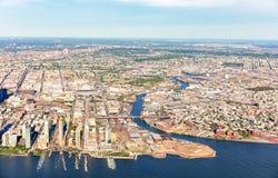 Вид с воздуха Бруклина и ферзей, NY Стоковое Изображение RF