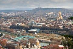 Вид с воздуха в центре  Тбилиси стоковые фотографии rf