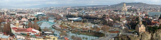 Вид с воздуха в центре  Тбилиси стоковое фото